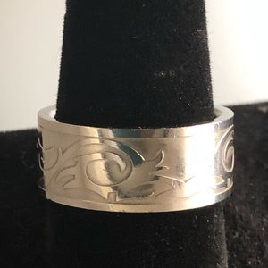 Other - SOLD! Polished Stainless Steel Engraved Ring
